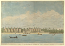 'Barrackpore, Pagoda near Khardah'. Aquatint with etching by and after James Moffat, published Calcutta c.1805-1810. One of a set of views of Bengal and along the Ganges.